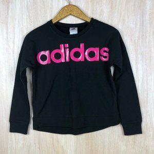 NWT Adidas Pink Logo Black Sweatshirt Large Girls